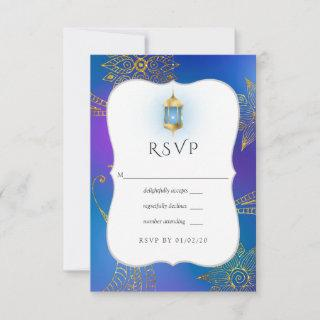 Gold Foil Arabian Bollywood Wedding RSVP Card
