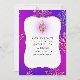 Gold Foil Arabian Bollywood Wedding Save The Date