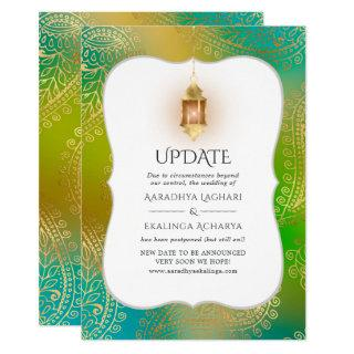 Gold Foil Arabian Bollywood Wedding Update Invitation