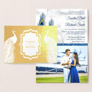 Gold Foil Blue Peacock Feathers Wedding Invitations