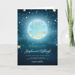 Gold Foil Calligraphy Starry Night Sky Wedding Invitations
