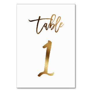 Gold foil chic wedding table number   Table 1