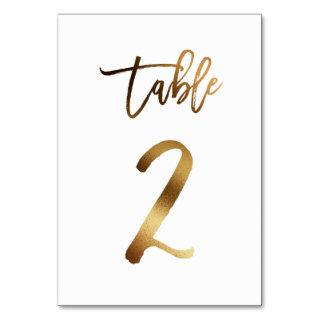 Gold foil chic wedding table number   Table 2