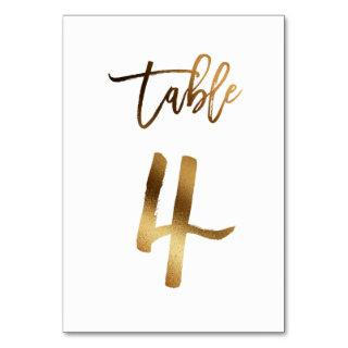 Gold foil chic wedding table number   Table 4