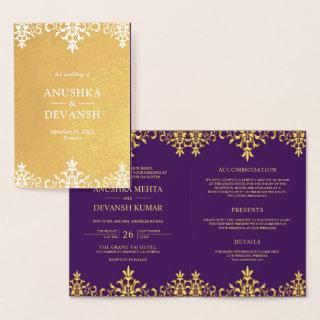 Gold Foil Damask Indian Style Wedding Invitations