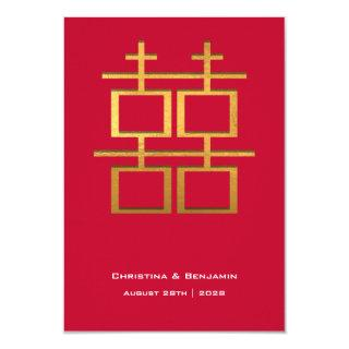 Gold Foil Double Happiness Chinese Wedding Invitations