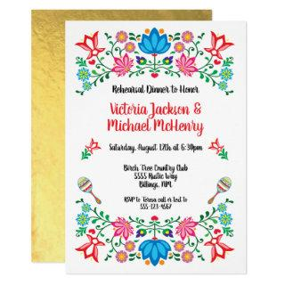 Gold Foil Floral Mexican Fiesta Rehearsal Dinner Invitation