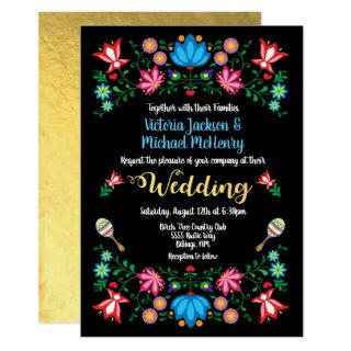 Gold Foil Floral Mexican Wedding Fiesta Card