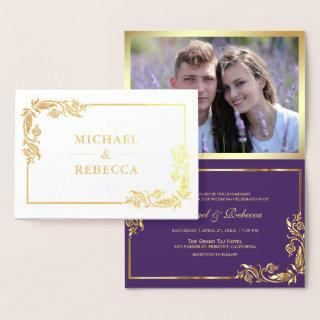 Gold Foil Floral Photo Purple Wedding Invitations