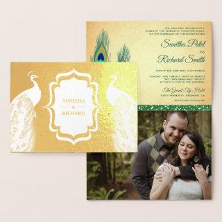Gold Foil Green Peacock Feather Wedding Invitation