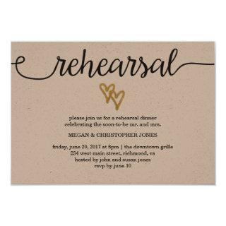 Gold Foil Hearts Kraft Paper Rehearsal Card