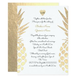gold foil look pineapple tropical summer wedding Invitations