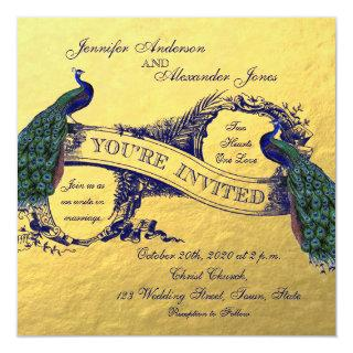 Gold Foil Peacock Wedding Invitations