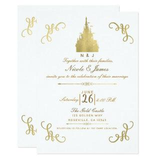 Gold Foil Princess Castle Storybook Wedding Invitations