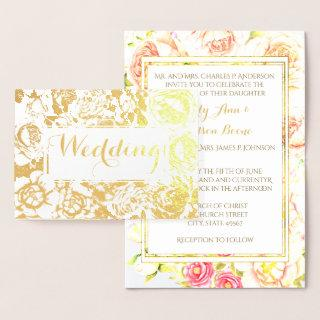 Gold Foil Rose Pink Typography Wedding Invitations