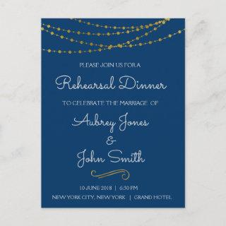 Gold Foil String Lights & Script Rehearsal Dinner Invitation Postcard