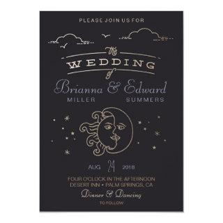 Gold foil Sun and Moon Wedding Invitations