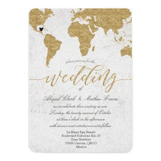 Gold Foil World Map Destination Wedding Invitations