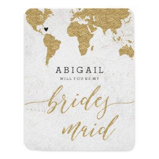 Gold Foil World Map Will You Be Bridesmaid Invitations