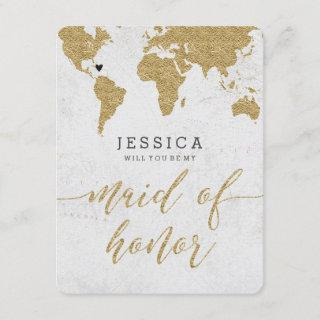 Gold Foil World Map Will You Be My Maid of Honor Invitations