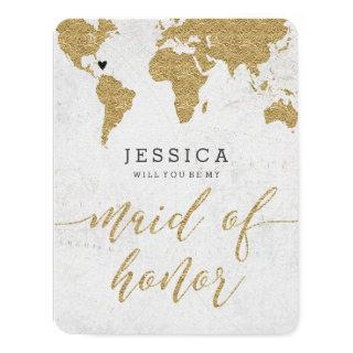 Gold Foil World Map Will You Be My Maid of Honor Invitation
