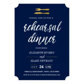 Gold Fork & Knife Rehearsal Dinner Invite - Navy