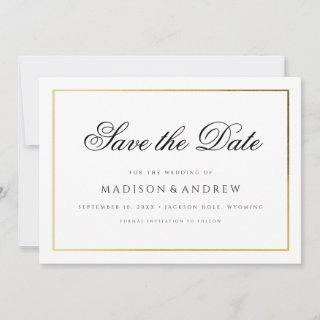 Gold Frame Modern Calligraphy Photo Save the Date