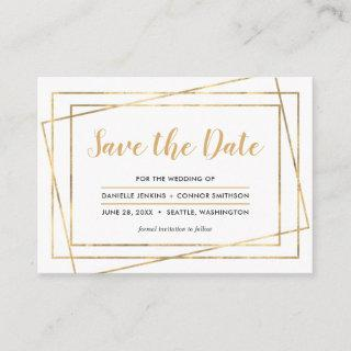 Gold Frame Save the Date with Wedding Website Enclosure Card