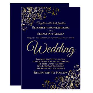 Gold Frills Simple Chic Navy Blue Wedding Invitations