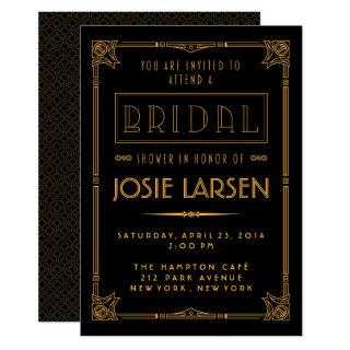 Gold Gatsby Art Deco Bridal Shower Invitations