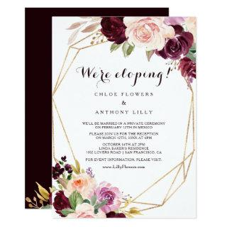 Gold Geometric Burgundy Floral Elopement Reception Invitation