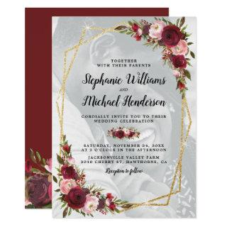 Gold Geometric Burgundy Floral Photo Wedding Invitations