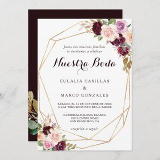 Gold Geometric Burgundy Floral Spanish Wedding Invitation