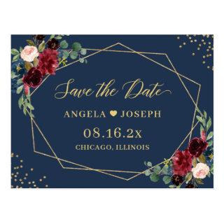 Gold Geometric Burgundy Navy Floral Save the Date Postcard