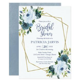 Gold Geometric Dusty Blue Floral Bridal Shower Invitation