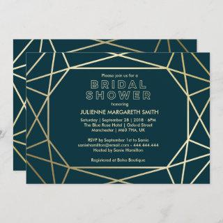 Gold Geometric Gem Sophisticated Bridal Shower Invitation