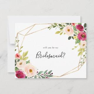 Gold Geometric Greenery Pink Bridesmaid Proposal Note Card