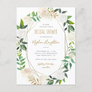 Gold Geometric Watercolor Floral Bridal Shower Invitation Postcard