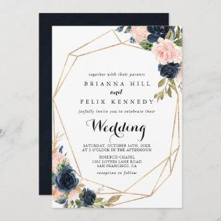 Gold Geometric Winter Floral Front & Back Wedding Invitations