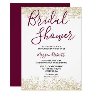 Gold Glitter Burgundy Bridal Shower Invitation