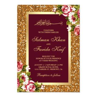 Gold Glitter Burgundy Floral Islamic Wedding Invitations