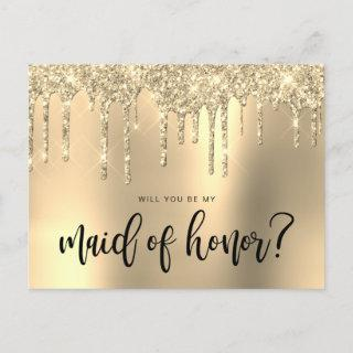 Gold glitter drips will you be my maid of honor invitation postcard