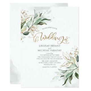 Gold Glitter Eucalyptus Greenery Elegant Wedding Invitation