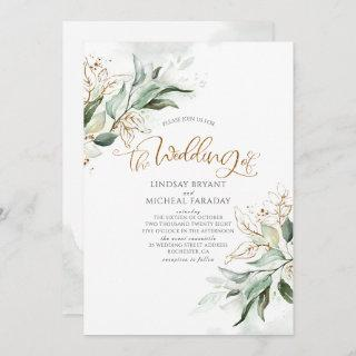 Gold Glitter Eucalyptus Greenery Elegant Wedding Invitations