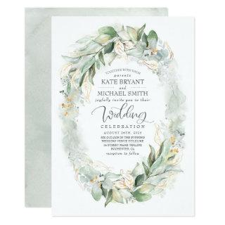 Gold Glitter Eucalyptus Greenery Wreath Wedding Invitations