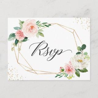 Gold Glitter Geometric Blush Floral Wedding RSVP Invitations Postcard