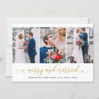 Gold Glitter Merry & Married Photo Collage Holiday