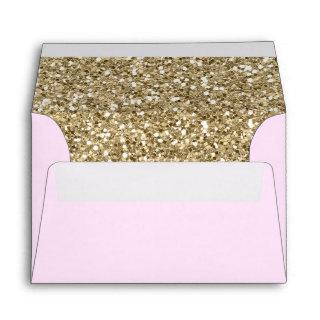 Gold Glitter Modern Blush Pink Faux Return Address Envelope