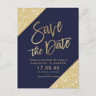 Gold glitter script navy blue save the date announcement postcard