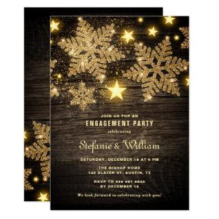 Gold Glitter Snowflakes Rustic Engagement Party Invitation